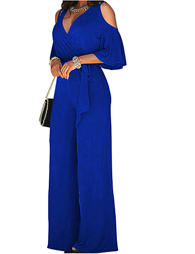 cheap Women's Jumpsuits & Rompers-Women's Wide Leg Cut Out Party Off Shoulder Black Wine Royal Blue Wide Leg Jumpsuit, Solid Colored Cut Out L XL XXL Cotton Long Sleeve Spring