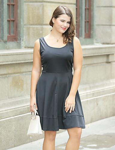 צווארון U מותניים גבוהים מעל הברך אחיד - שמלה גזרת A נדן שחורה וקטנה מידות גדולות בסיסי בגדי ריקוד נשים