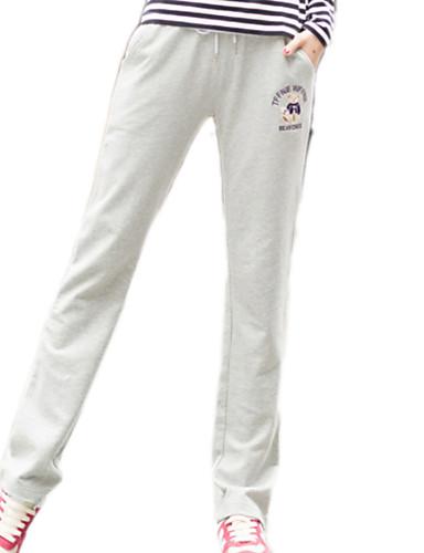Mujer Deportivo Algodón Corte Ancho Pantalones de Deporte Pantalones - Un  Color Básico Negro b5a899e4aca2