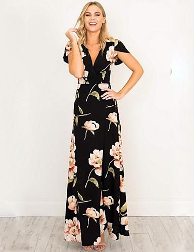baratos Vestidos Longos-Mulheres Moda de Rua Sofisticado Delgado Sereia Vestido - Frufru, Sólido Decote V Longo Preto / Floral