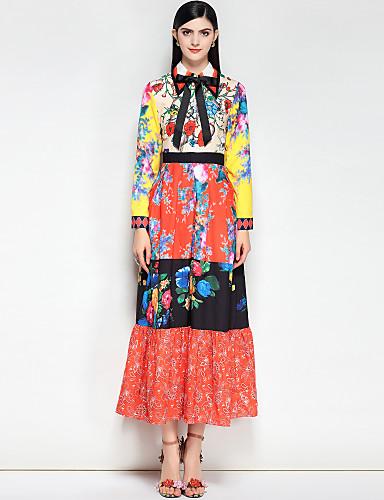 billige Kjoler-Dame Bohem Bomull Tynn Swing Kjole - Blomstret / Fargeblokk, Grunnleggende Skjortekrage Maksi