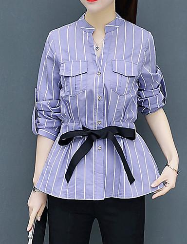 abordables Camisas y Camisetas para Mujer-Mujer Chic de Calle Trabajo Camisa, Escote en Pico A Rayas Azul Piscina L / Primavera / Verano
