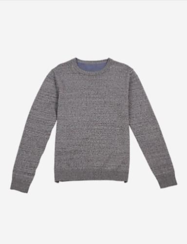 צבע אחיד - סוודר שרוול ארוך צווארון עגול בגדי ריקוד גברים
