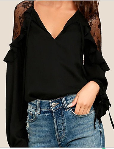 97aeb1a53a3f5 Women's Holiday Street chic Cotton Loose Blouse - Solid Colored Lace V Neck  White M / Spring / Summer #06592486