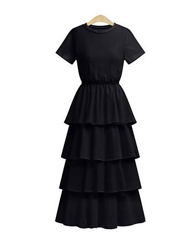 מידי אחיד - שמלה משוחרר מידות גדולות בסיסי בגדי ריקוד נשים / אביב / קיץ