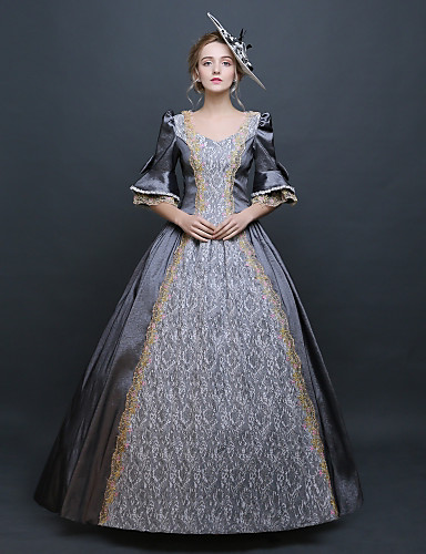 590c27dbf9 Baroque Renaissance Costume Women s Dress Outfits Party Costume Masquerade  Gray Vintage Cosplay 3 4 Length Sleeve Puff   Balloon Sleeve Floor Length  Long ...