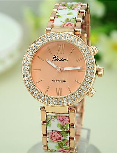 cheap Floral Watches-Women's Diamond Watch Quartz Black / White / Blue Casual Watch Analog Ladies Flower Fashion - Green Blue Pink