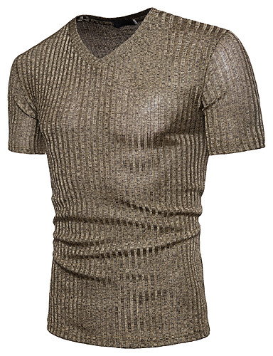 voordelige Heren T-shirts & tanktops-Heren Standaard Pailletten T-shirt Katoen Effen V-hals Zwart / Korte mouw / Zomer