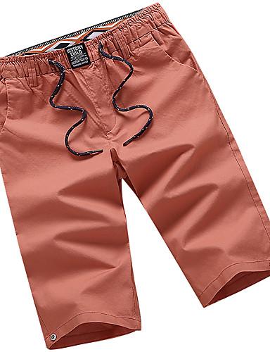 Herr Streetchic Plusstorlekar Bomull Chinos   Shorts Byxor - Enfärgad  Grundläggande Låg Midja Orange XXXL   a8bfdb5f88a4b
