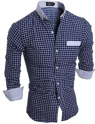 משובץ דמקה פשוט חולצה - בגדי ריקוד גברים / שרוול ארוך