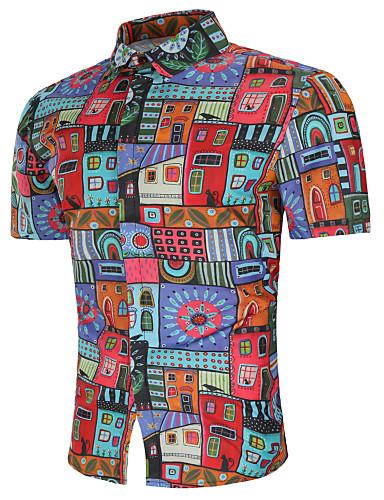 Rozmiar plus Koszula Męskie Wzornictwo chińskie, Nadruk Bawełna Geometryczny