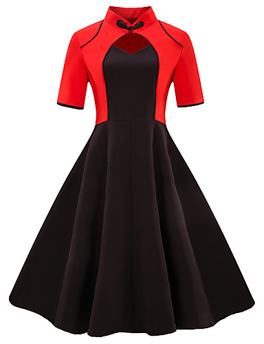 cheap Women's Plus Size Dresses-Women's Plus Size Daily Going out Vintage Basic Slim Sheath Dress - Color Block Black & Red V Neck Summer Black Red XXL XXXL XXXXL