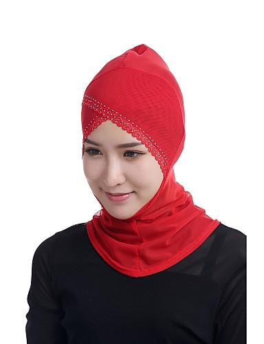 billige Tilbehør til damer-Dame Grunnleggende Hijab - Perler / Netting, Ensfarget / Jacquardvevnad