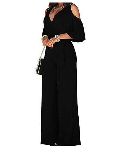 7fcb7ec897 Women s Wide Leg Cut Out Party Off Shoulder Black Wine Royal Blue Wide Leg  Jumpsuit