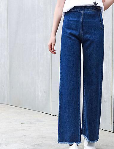 Damskie Moda miejska Spodnie szerokie nogawki Jeansy Spodnie Jendolity kolor