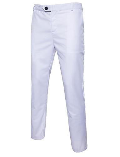 cheap Men's Pants & Shorts-Men's Basic Plus Size Cotton Slim Suits Pants - Solid Colored White / Work