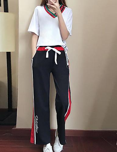 billige Dametopper-Dame Grunnleggende Store størrelser Puffermer Bluse / Sett Bukse - Bred Bukseben, Fargeblokk V-hals / Sommer / Sporty stil