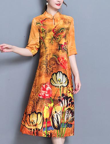 עומד מפוצל דפוס, פרחוני - שמלה משוחרר מידות גדולות בגדי ריקוד נשים