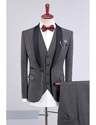ブラック ダークブルー グレー パープル ブルー ソリッド スタンダードフィット ポリエステル スーツ - ショールカラー シングルブレスト 一つボタン