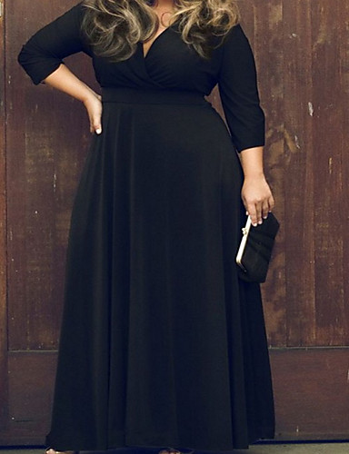 Damen Übergrössen Hülle Kleid - Gefaltet, Solide Maxi Tiefes V Hohe Hüfthöhe