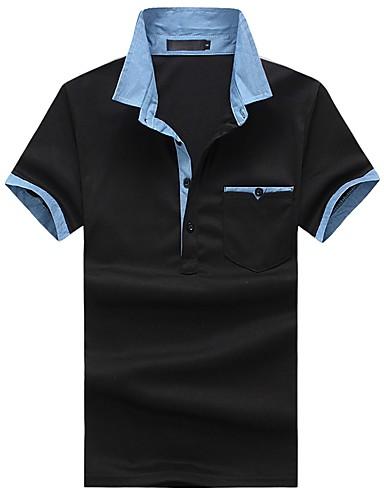 קולור בלוק צווארון חולצה רזה כותנה, Polo - בגדי ריקוד גברים