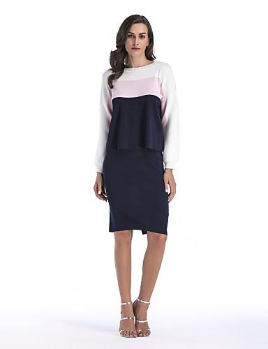 חצאית קולור בלוק - סוודר קצר כותנה חגים בגדי ריקוד נשים