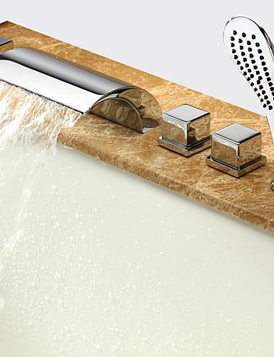 billige Romersk- bad-Badekarskran - Moderne Krom Romersk kar Keramisk Ventil Bath Shower Mixer Taps / Messing / To Håndtak fem hull