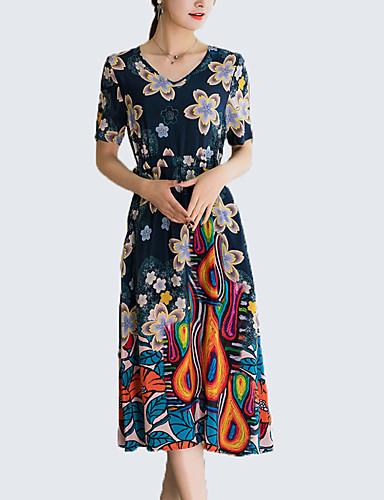 Damskie Wyrafinowany styl Moda miejska Pochwa Sukienka - Kwiaty, Nadruk Midi