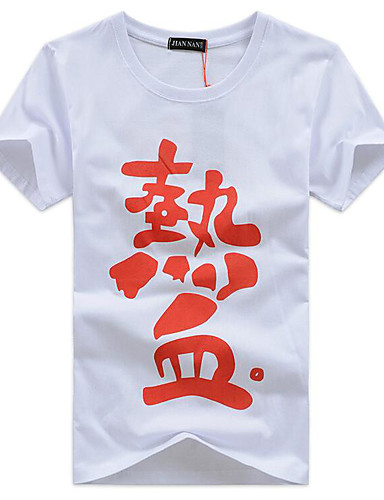 voordelige Heren T-shirts & tanktops-Heren Standaard / Street chic T-shirt Letter Ronde hals Wit / Korte mouw