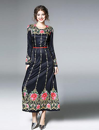 מקסי מידי דפוס, פרחוני - שמלה נדן ליציאה בגדי ריקוד נשים
