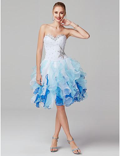 Ballkjole Kjære Knelang Organza Cocktailfest Kjole med Perlearbeid Fallende drapering Sidedrapering av TS Couture®