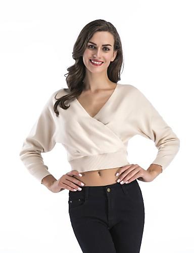 כותנה צבע אחיד - סוודר שרוול ארוך צווארון V ליציאה בגדי ריקוד נשים