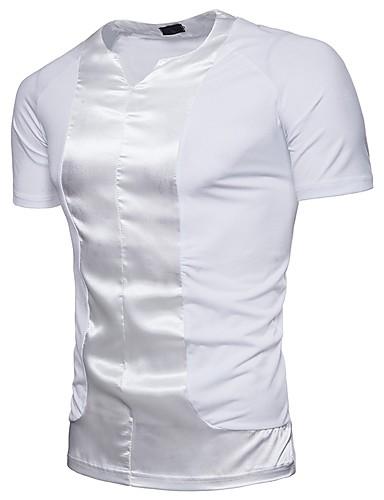 T-shirt Męskie Moda miejska Bawełna W serek Solidne kolory / Krótki rękaw