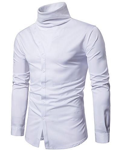 אחיד צווארון עומד(סיני) רזה חולצה - בגדי ריקוד גברים / שרוול ארוך