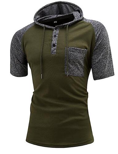 abordables Camisetas y Tops de Hombre-Hombre Camiseta, Con Capucha Bloques Negro M / Manga Corta