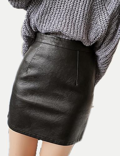 Damskie Podstawowy Faux Leather Mini Bodycon Spódnice Jendolity kolor Wysoka Talia / Lato
