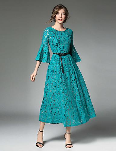 מידי תחרה, צבע אחיד - שמלה סווינג רזה שרוול התלקחות סגנון רחוב בגדי ריקוד נשים