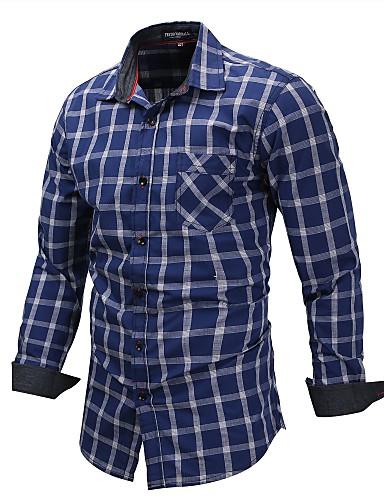 משובץ / משבצות סגנון רחוב חולצה - בגדי ריקוד גברים