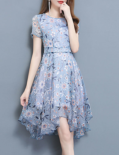 91c6423a8a2 Women s Plus Size Going out Street chic   Sophisticated Slim Sheath Dress -  Floral Blue