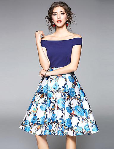 כתפיה דפוס, פרחוני - שמלה נדן בגדי ריקוד נשים