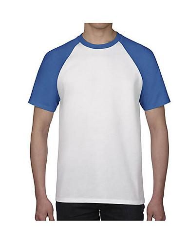 voordelige Uitverkoop-Heren Actief T-shirt Katoen Effen Ronde hals Zwart / Korte mouw / Lang