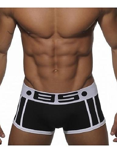 Men's Boxers Underwear Solid Colored Mid Waist