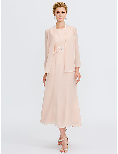 Sheath / Column Jewel Neck Tea Length Chiffon Mother of the Bride Dress with Beading Sash / Ribbon Pleats by LAN TING BRIDE®