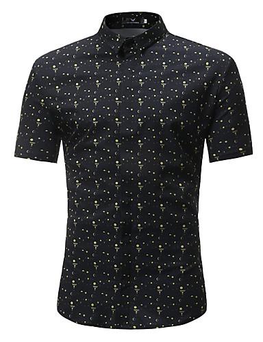 Rozmiar plus Koszula Męskie Boho / Moda miejska, Nadruk Bawełna Plaża Groszki / Geometryczny / Wielokolorowa / Krótki rękaw