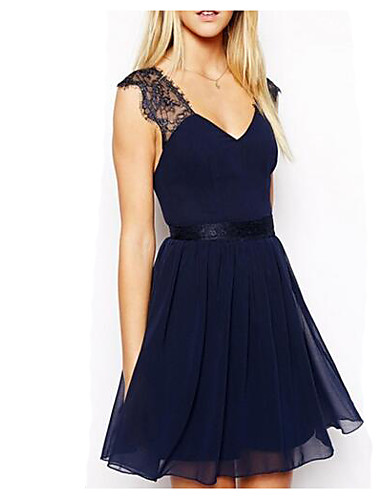 Women's Backless Going out Chiffon Dress - Solid Colored Lace / Backless V Neck Summer Blue M L XL
