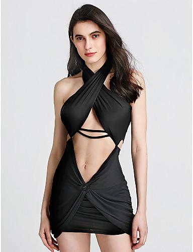 Women's Bodycon Dress - Solid Colored Black, Backless Criss-Cross Mini Halter