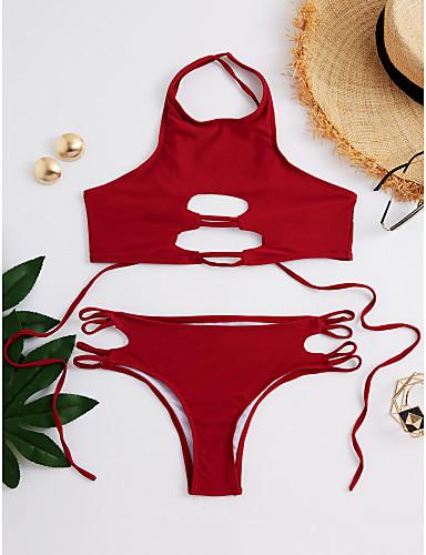povoljno Ženske majice-Žene Jednobojno Na vezanje Red Gaće Bikini Kupaći kostimi - Jednobojni Sexy Moderna M L XL Red