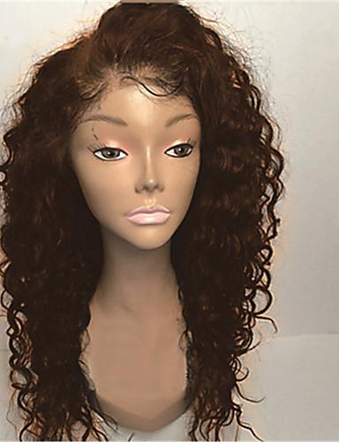 povoljno Perike s ljudskom kosom-Ljudska kosa Lace Front Perika Stražnji dio Rihanna stil Brazilska kosa Kovrčav Priroda Crna Perika 130% Gustoća kose 8-30 inch s dječjom kosom Prilagodljiv Prirodna linija za kosu Izbijeljeni