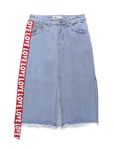 Damskie Moda miejska Jeans Ołówek Spódnice Litera