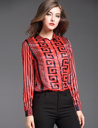 abordables Camisas y Camisetas para Mujer-Mujer Chic de Calle Estampado Camisa, Cuello Camisero Geométrico